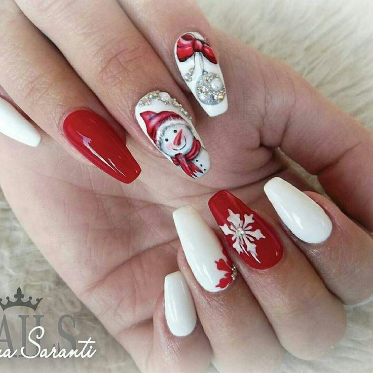 #naildesign #nailart #christmasnailart #snowmannailart