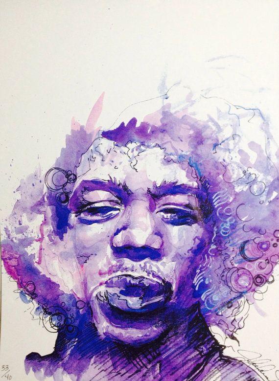 PURPLE HAZE, original watercolor print of Jimi Hendrix
