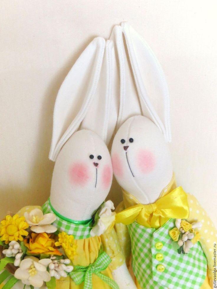 Купить Пасхальные зайцы - ярко-зелёный, ярко-желтый, горошек, зайчик, пасхальный зайчик, Пасха