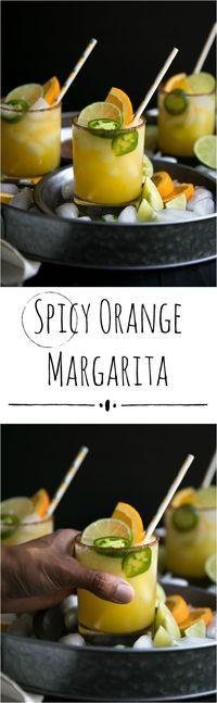 Spicy Orange Margarita - easy, delicious and super refreshing! #ad #margarita #orange #jalapeno #cocktailrecipe
