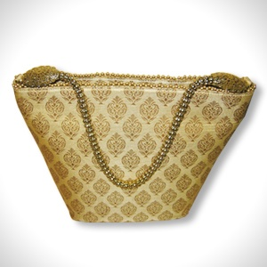 Cream coloured silk bag   Fancy Golden Handles   MRP- Rs. 1495