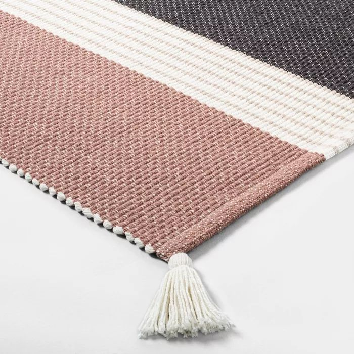 Bath Rug Colorblock Stripes Copper Sour Cream Gray