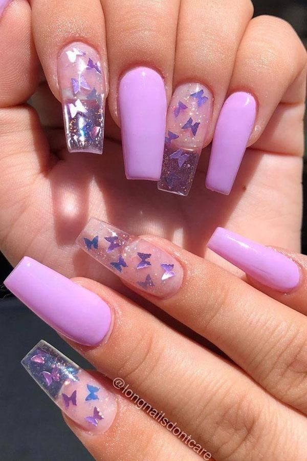 Purple Clear Butterfly Nails In 2020 Purple Acrylic Nails Best Acrylic Nails Acrylic Nails Coffin Short