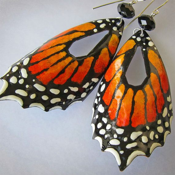 Extra Large Butterfly Earrings $99.00 at http://www.etsy.com/listing/79383838/orange-butterfly-earrings-extra-large?ref=tre-824698640-15