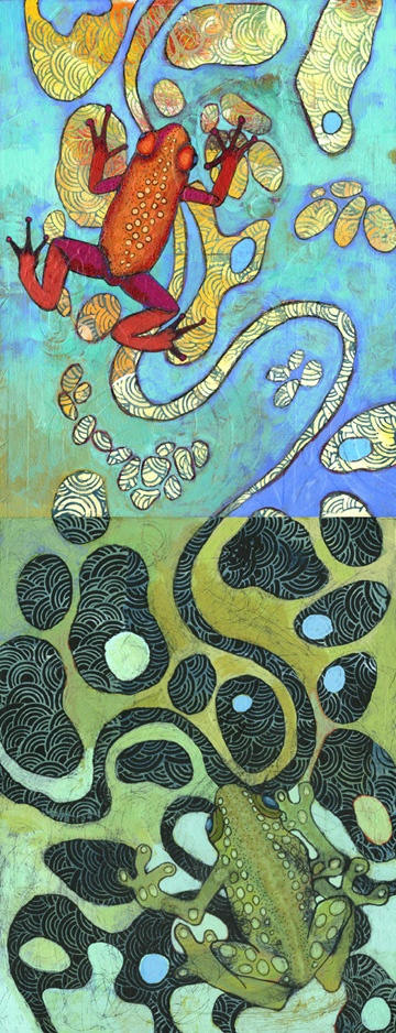 """www.rainagentry.com  """"Frogs""""  acrylic and ink on wood."""