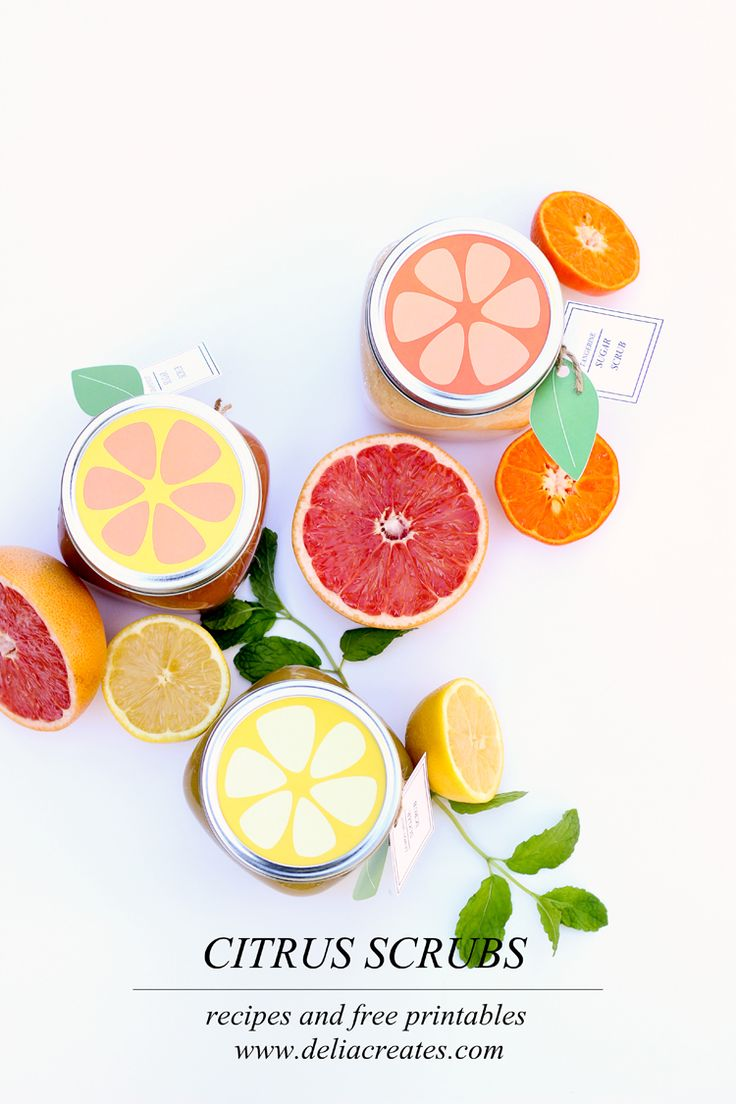 DIY Citrus Sugar Scrubs Tutorial and Free Printable