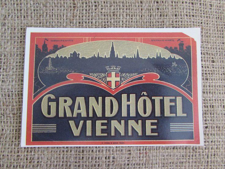 Grand Hotel Vienne Luggage Label Sticker, Vintage Grand Hotel Vienne Luggage Sticker, Luggage Stickers, Vintage Luggage Stickers, Stickers by OpenTwentyFourSeven on Etsy