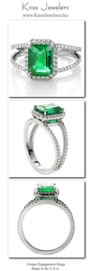 This engagement ring is crafted in 950 Platinum Ruthenium, and presents a stunning 2.20 carat emerald cut center gemstone. The natural Emerald is set within four tapering prongs. The split shank band and halo have a classic look of micro pavé with hand set round cut diamonds.For more information click on the pin.