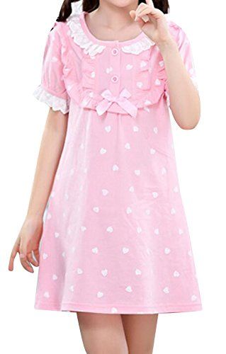 Pajamas dress Girl Cute Pink Sleepwear Cotton Nightgown Short Sleeve  Pajamas Dress  c7473ec99