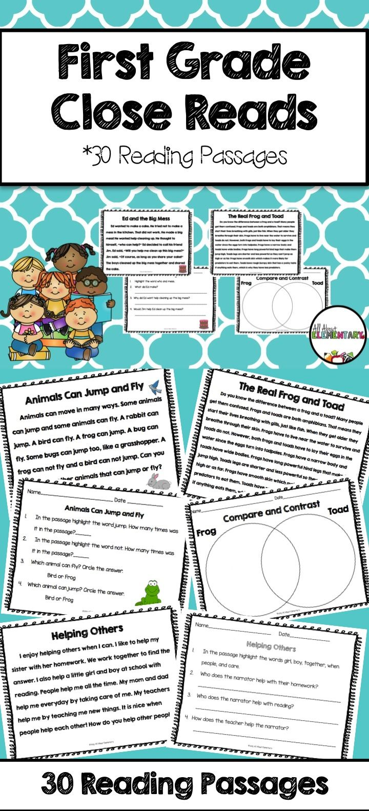 First Grade Close Reads - Use this 72 page resource to help your 1st, 2nd, or 3rd grade classroom and homeschool students with their close reading skills. You get 30 close reads in this pack - 18 non-fiction (or informational text) and 12 fiction. Also in