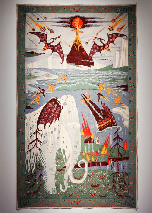 Another wicked Klaus Haapaniemi rug. It's the prettiest, creepiest textile including wooly mammoths, pterodactyls and meteors I've ever seen ;)