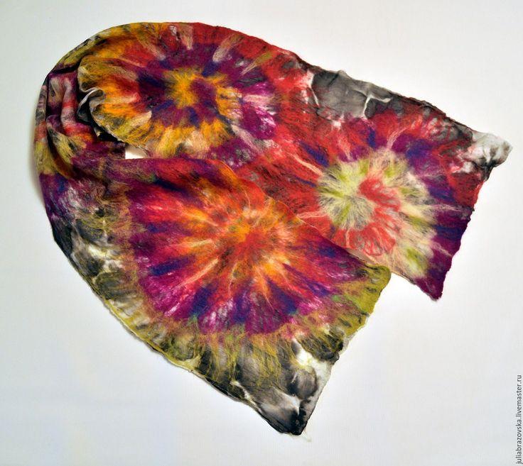 Купить Шарфик валяный Тай-дай.Весенний яркий шарф.имитация техники tie-dye #Шелковый #весенний #яркий #разноцветный #шарф #нунофелтинг #тай-дай #шарфик  #ручная_работа #ручнаяработа #весна #весенний