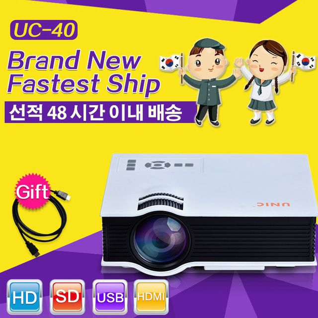 Free Gift Korean UC40 Newest Projector Mini Pico portable proyector Projectors AV USB SD HDMI beamer Wholesale Original Box US $58.90-68.4 /piece To Buy Or See Another Product Click On This Link  http://goo.gl/EuGwiH