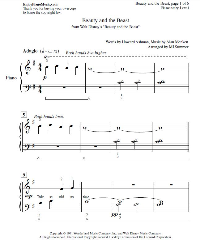 Beauty And The Beast Sheet Music Easy Piano For Kids And
