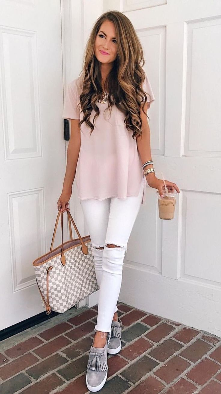 Soft pink top with white jeans