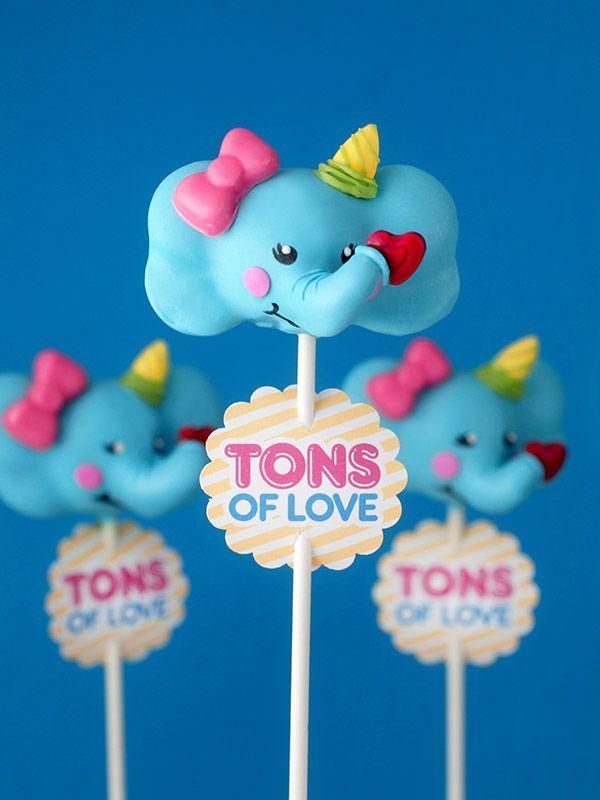 Elephant Cake Pop Valentines