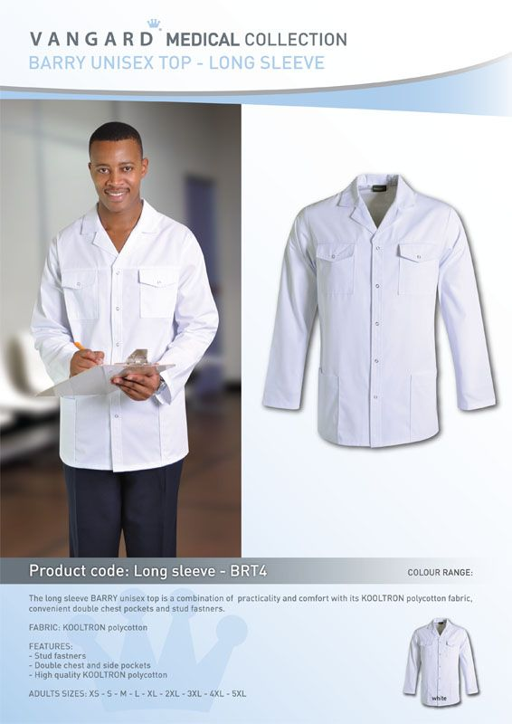 The long sleeve BARRY unisex doctors jacketis a combination of practicality and comfort with its KOOLTRON polycotton fabric,convenient double chest pockets and stud fastners.    Features:KOOLTRON polycotton,Stud fastners,Double chest and side pockets,High quality KOOLTRON polycotton,Plus size lab coats: XS - S - M - L - XL - 2XL - 3XL - 4XL - 5XL.