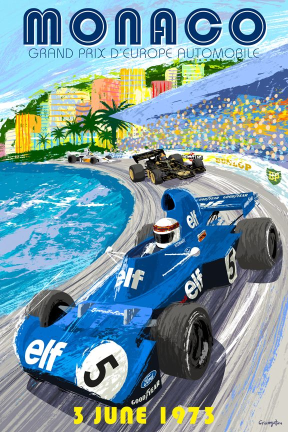 Retro style 1973 Monaco Grand Prix Poster by Michael Crampton, via Behance