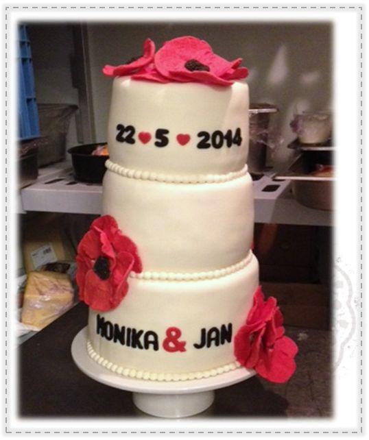 Bruidstaart - klaprozen  Weddingcake - Poppy