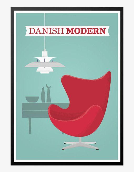 danish modern arne jacobsen ægget ph lampe retro plakat
