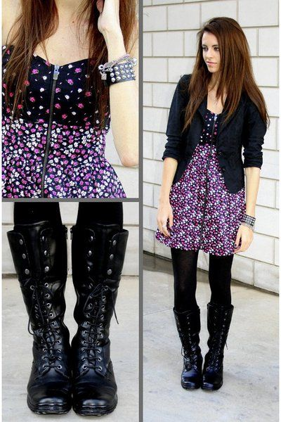 Military boots with a floral dress and jacket. Love the zip detail on the front of the dress also.
