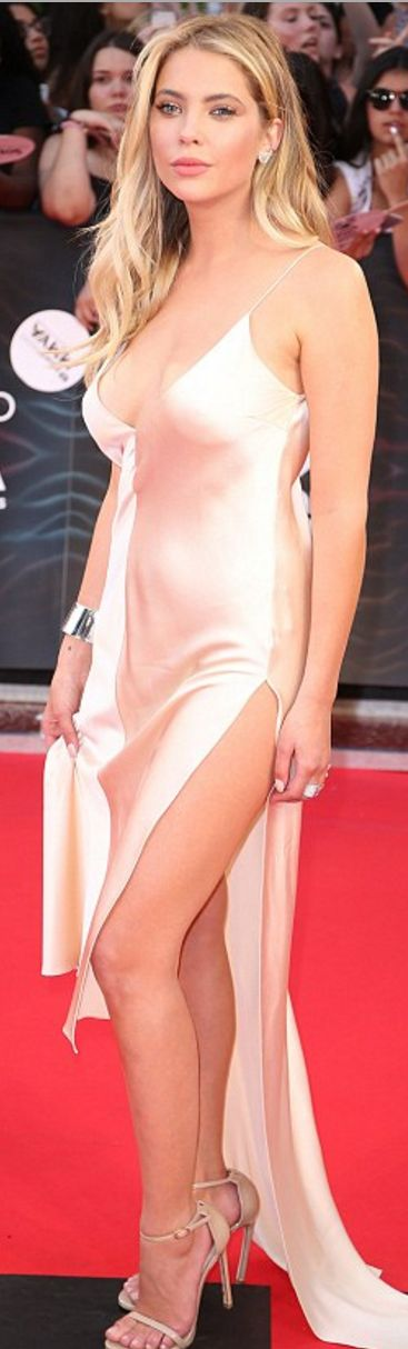 Who made Ashley Benson's tan wrap satin dress and nude ankle strap sandals?