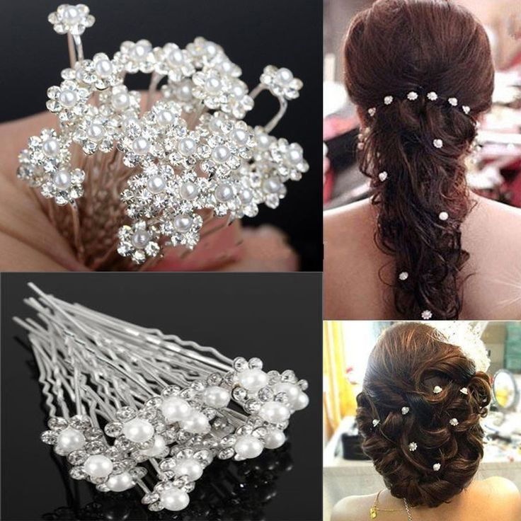 WOMEN BRIDAL  WHITE PEARLS HAIR PINS  WEDDING PARTY PROM BRIDES GIRLS  BOBBY PIN