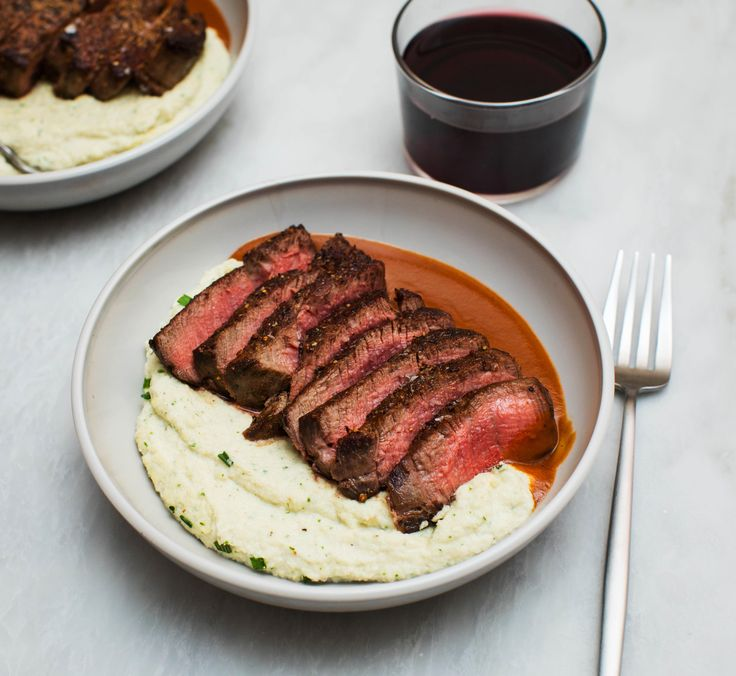 I've been learning how to make some classic sauces so I made Filet Mignon with Smoked Ricotta Cheese Mashed Cauliflower and Espagnole Sauce! Recipe in the comments. [OC] [4626  4249]