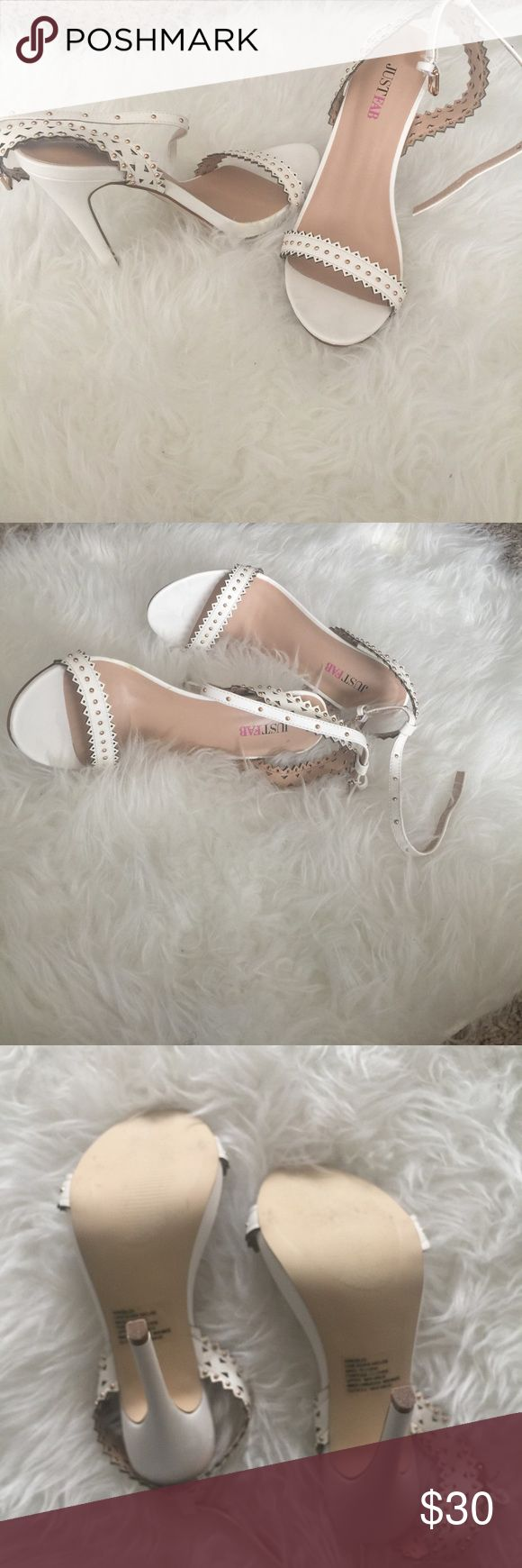 JustFab White Heel Sandals Fairly new, worn only once. Pretty for spring/summer look JustFab Shoes Heels