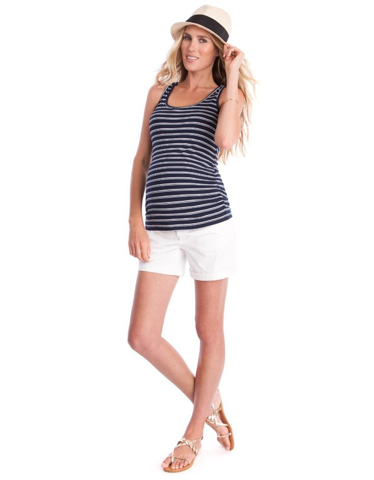 Your summer closet wouldn't be complete without a cute pair of white denim maternity shorts, and we've got the perfect pair! Soft & stretchy, with a comfy over-bump band, these maternity denim shorts provide a wide, relaxed fit that's guaranteed to grow with you through every stage of pregnancy. Belt loops, pockets, a mock fly button & stylish turn-ups offer a look that's just like your regular denim – perfect for disguising the flexible fit that most certainly isn't! Team with a cute tee…