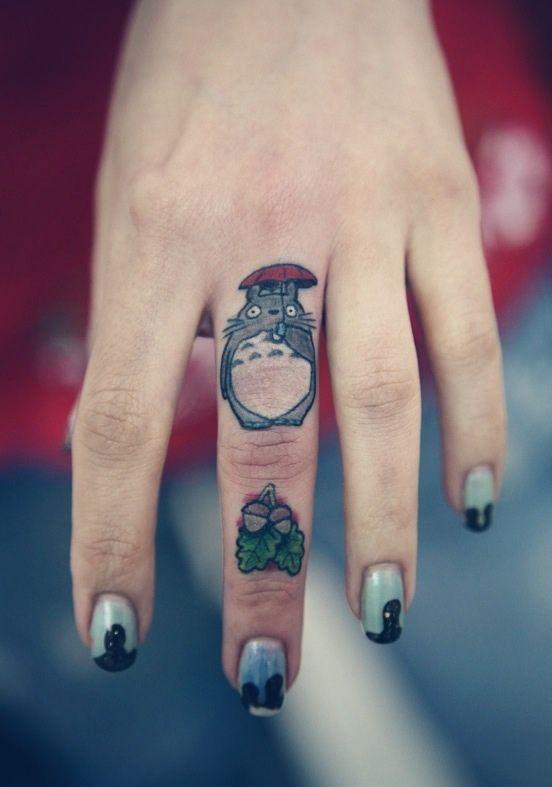 my neighbor totoro finger tattoo. love