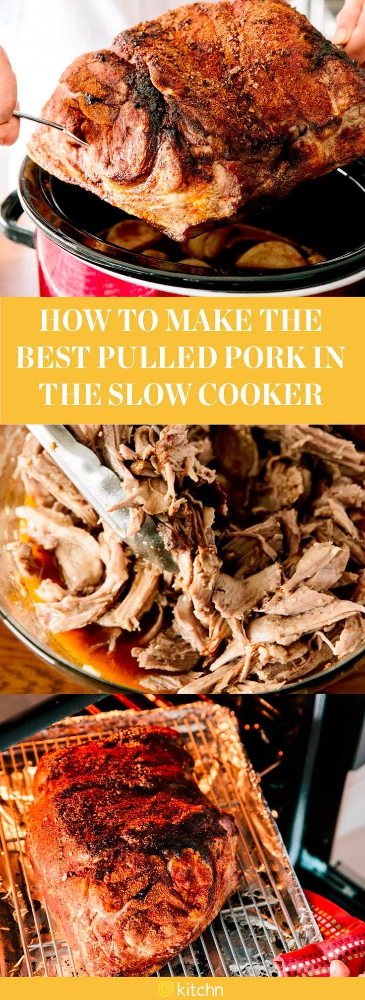 EASY slow cooker pulled pork. This is one of the simplest recipes you'll ever make in your crock pot and everyone will LOVE it! Use a cheap pork shoulder/butt and feed a large crowd. Also a great recipe for meal prep - leftovers freeze very well and make excellent bbq pork sandwiches.