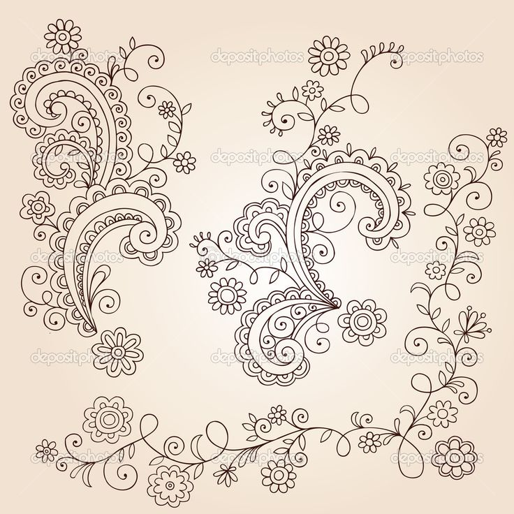paisley and flower tattoos | Drawn Flowers, Leaves, and Vines Abstract Paisley Henna Mehndi Paisley ...