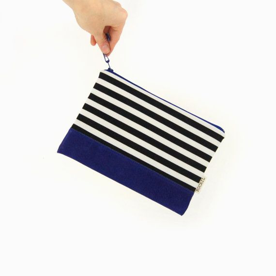 Spring 2015 trend: Black & White Striped bag with suede accent by ClassicByNature