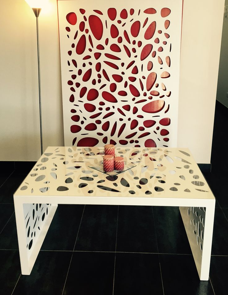 Laser cut mild steel white powder-coated coffee table in QAQ's 'Cayman' design. This was a creative experiment we had fun making. With all the machines we have here, we gotta have fun once in a while and see what they can do! ~QAQ