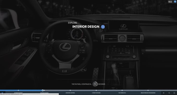 Interactive film to explore the Lexus IS an intesting take on how to do a car microsite... https://www.lexus.eu/car-models/is/interactive-video/#/interiorDesign