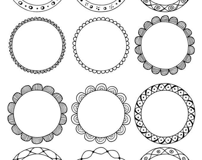 Runde Rahmen Clipart Handgezeichnete Kreise Clipart Blumen Boho StammesDoodleClipArt