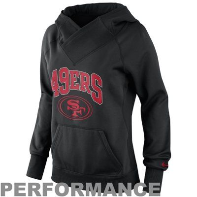 Nike San Francisco 49ers Ladies Wildcard Pullover Performance Hoodie - Black