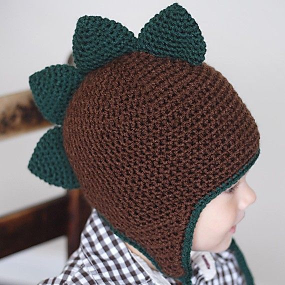 Knitting Items To Sell : Spiky dino earflap hat crochet pattern instant download