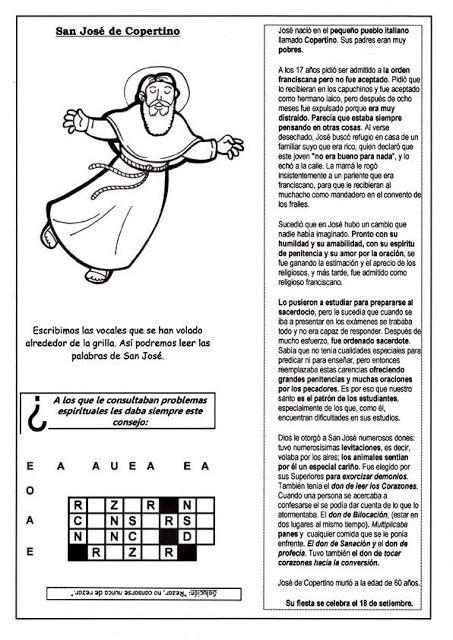 El Rincón de las Melli: Breve historia de San José de Cupertino con juego