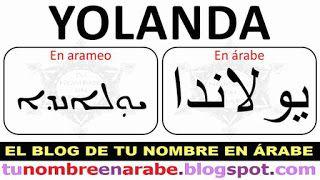 Escribir Yolanda en arameo y arabe