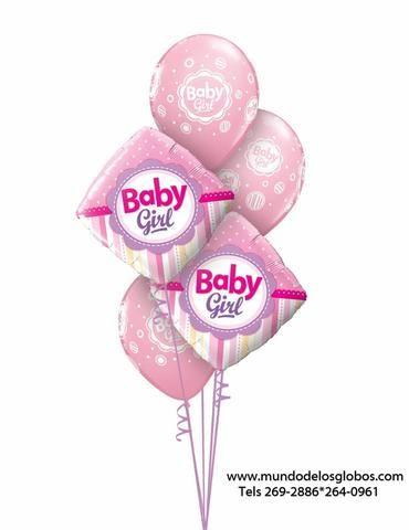 Bouquet de Diamantes Baby Girl con Globos Baby Girl Rosados