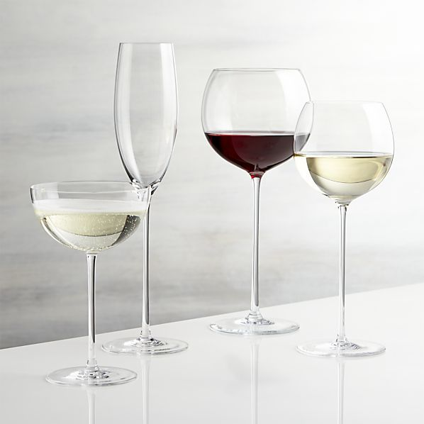 The Camille glasses rise to the occasion on elongated slender stems with bubble bowls that are perfect for cradling in hand to allow wines to open up and breathe.