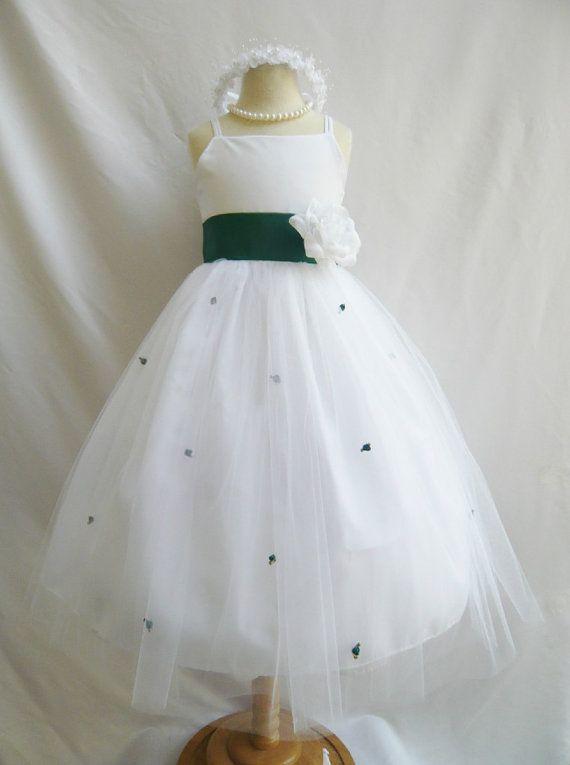 Flower Girl Dress WHITE w/ Green Hunter RB3 Wedding Children Easter Bridesmaid Communion Purple Eggplant Orange Burnt Lilac Green Sage Hunte  $35