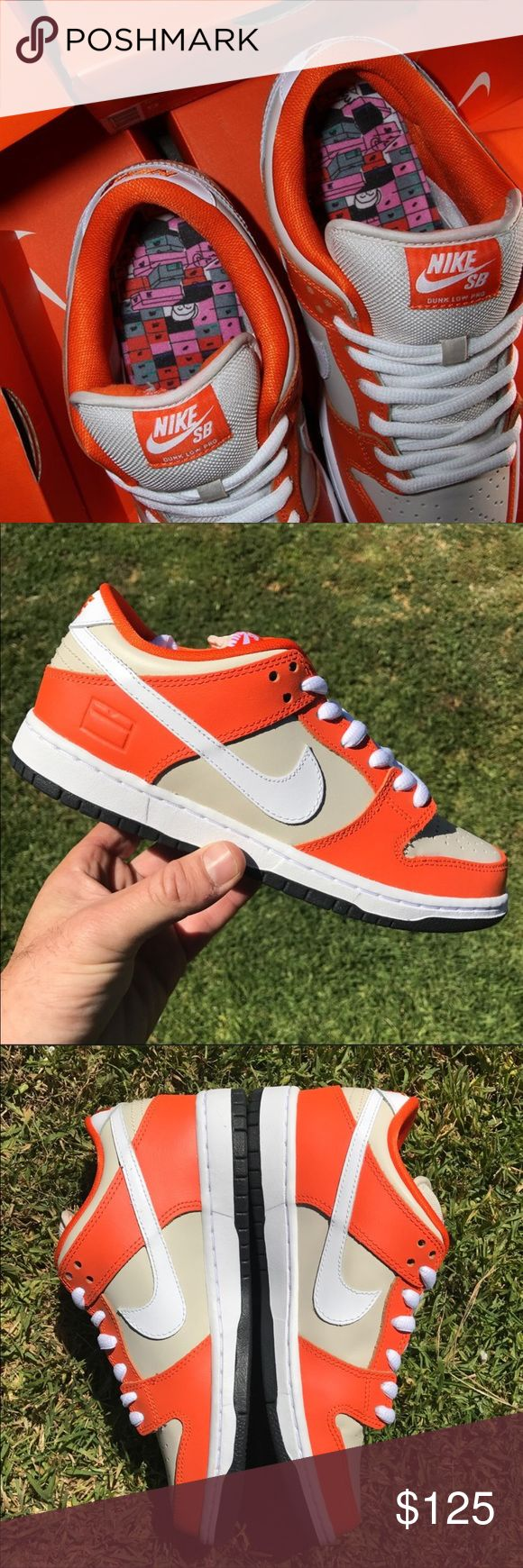 NEW | NIKE SB LOW | ORANGE BOX | SZ 7 MEN NEW NEVER USED Nike SB Dunk LOW PRM  | ORANGE BOX | 100% AUTHENTIC. NO BOX.  SIZE 7 MEN - will also fit women's SZ 8.5 - 9 please be familiar with what size you wear in NIKE MEN shoes PRIOR to ordering.   ONE PAIR IS AVAILABLE.  SHIPS SAME OR NEXT DAY FROM MY SMOKE FREE HOME.   REASONABLE OFFERS WILL ONLY BE CONSIDERED THROUGH THE OFFER BUTTON. ANY OFFERS IN COMMENTS WILL BE IGNORED.   BUNDLE DISCOUNT SUBJECT TO MY APPROVAL. ✨   ALL PRODUCT IS 100%…