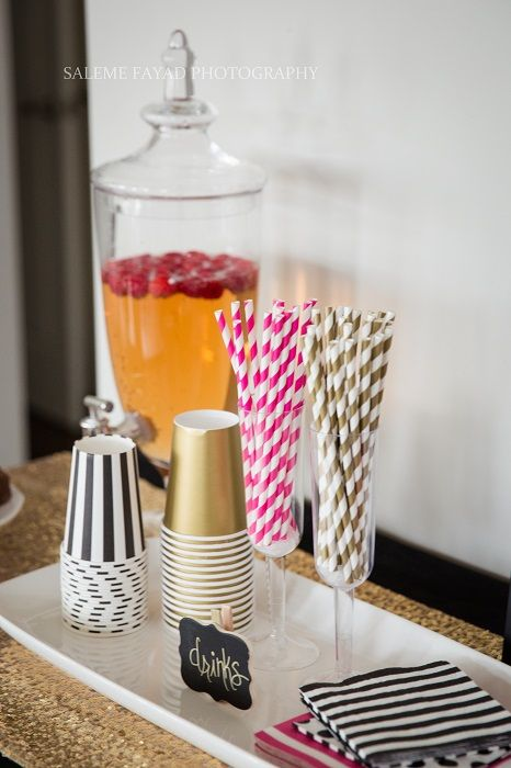 Black Pink and Gold Kate Spade inspired party.  Find all the details and shop the items used: www.partystock.ca - Beautiful glass drink canister and pink and gold paper straws.