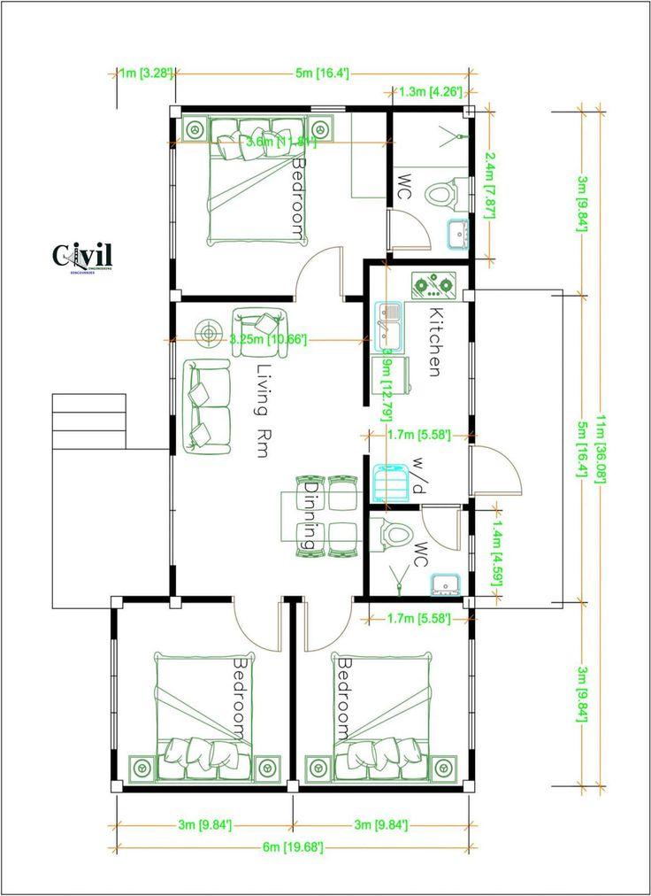 House Design Plans 11 6 Meters 36 20 Feet 3 Bedrooms Engineering Discoveries Home Design Plans House Design Small House Design Plans House plan vs floor plan