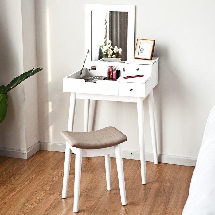 Kieron Vanity Set With Mirror Small Vanity Table Vanity Table Set Dressing Table Set