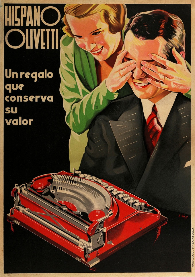 Letterology: Hispano Olivetti: Vintage Posters, Red Olivetti, Vintage Olivetti, Ads Restored, Typewriter Posters, Machines