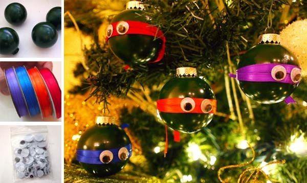 DIY nápad s návodom na vianočnú dekoráciu ninja korytnačky v podobe zábavných vianočných gulí na stromček... ozdoby, vianoce, dekorácia, návod